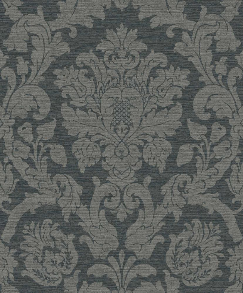 Grandeco Kensington Damask Charcoal 29020003 Wallpaper
